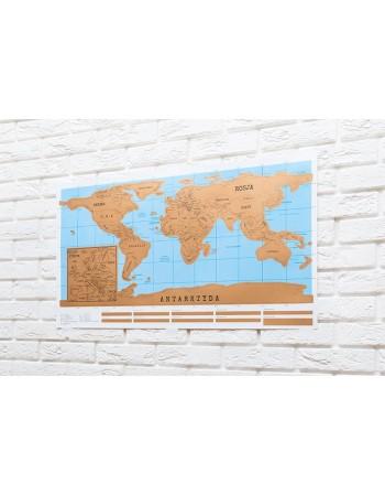 Mapa świata - zdrapka POLSKA WERSJA
