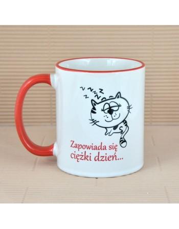 Kubek z kotkiem - różne napisy - CZERWONY