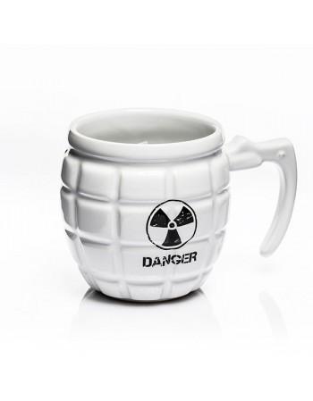 Kubek granat DANGER - biały/zielony