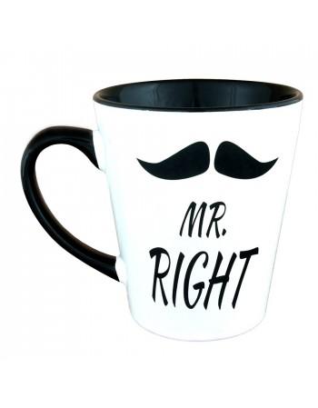 Kubek Latte z wąsem - Mr. RIGHT
