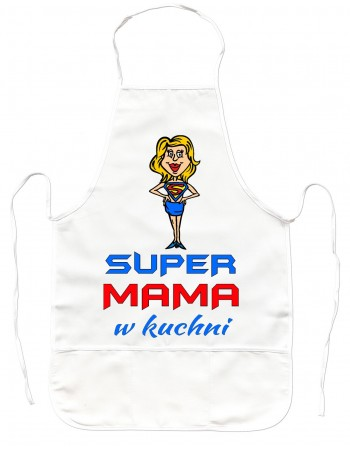 Gruby Fartuch Kuchenny Super Mama - prezent na Dzień Matki