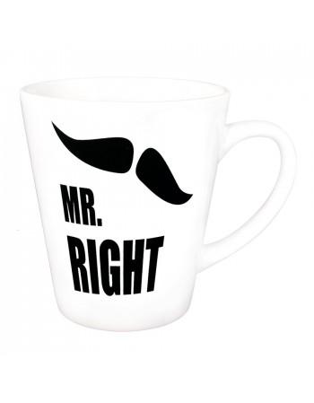 Zestaw kubków latte MRS RIGHT i MR RIGHT - białe