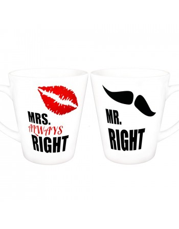 Zestaw kubków latte MRS RIGHT i MR RIGHT - białe