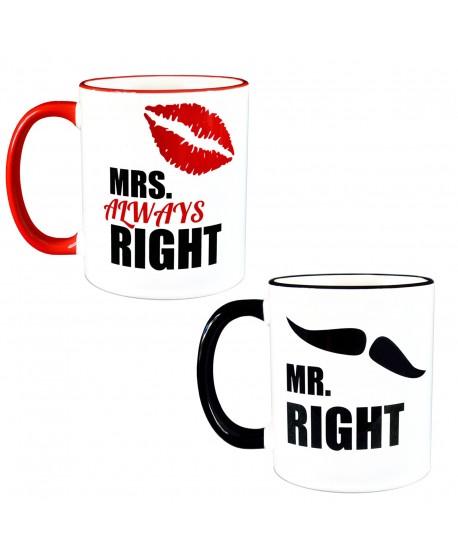 Zestaw kubków - Mrs. and Mr. RIGHT