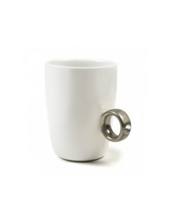 Dwukaratowy kubek Biały/Czarny - srebrny pierścionek