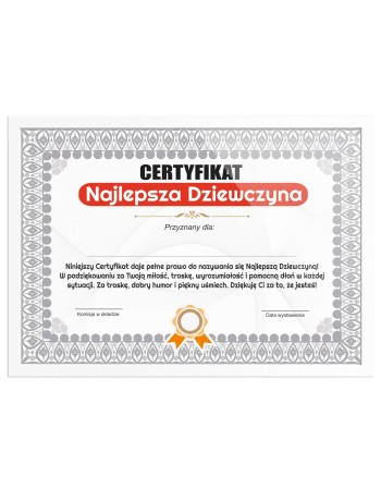 Certyfikat dla Dziewczyny na prezent Najlepsza Dziewczyna