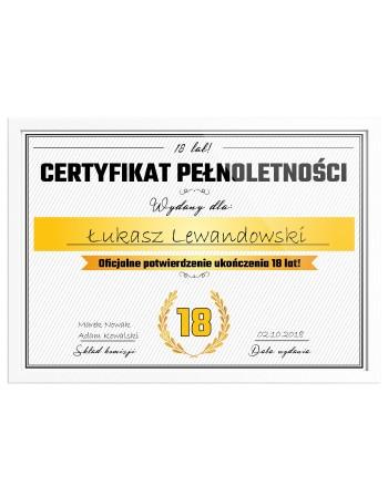 Certyfikat prezent na 18 urodziny