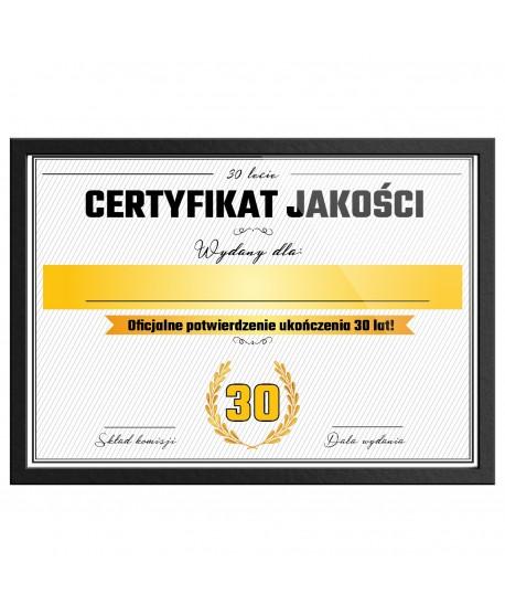 Certyfikat prezent na 30 urodziny