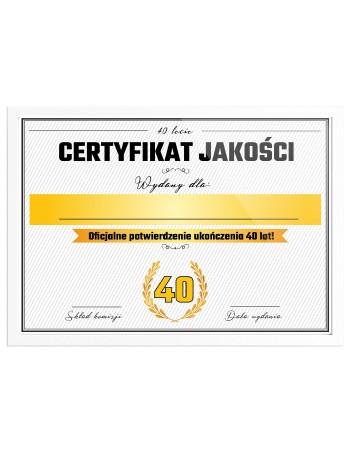 Certyfikat prezent na 40 urodziny