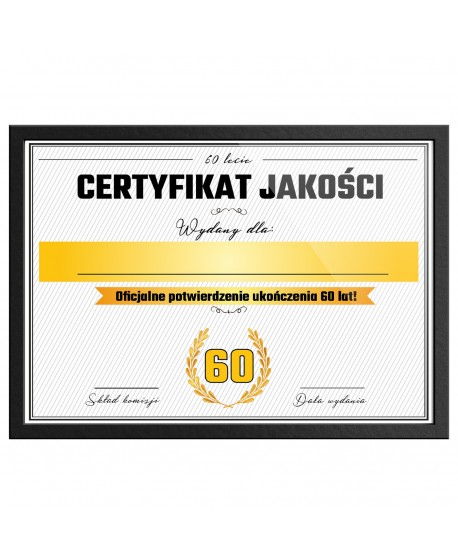 Certyfikat prezent na 60 urodziny