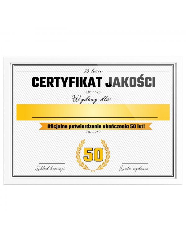Certyfikat prezent na 50 urodziny