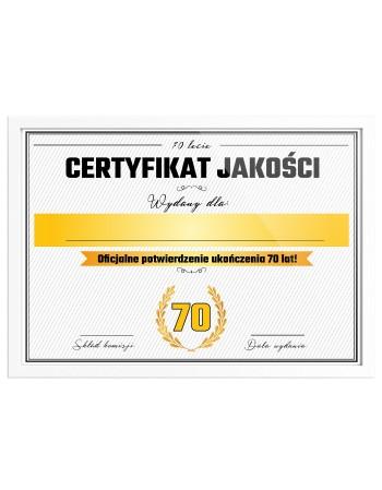Certyfikat prezent na 70 urodziny