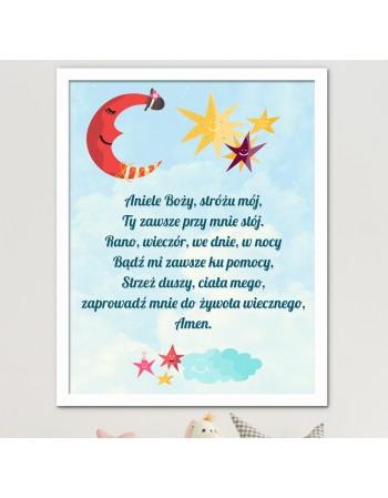 Modlitwa Aniele Boży - obrazek do pokoju dziecka